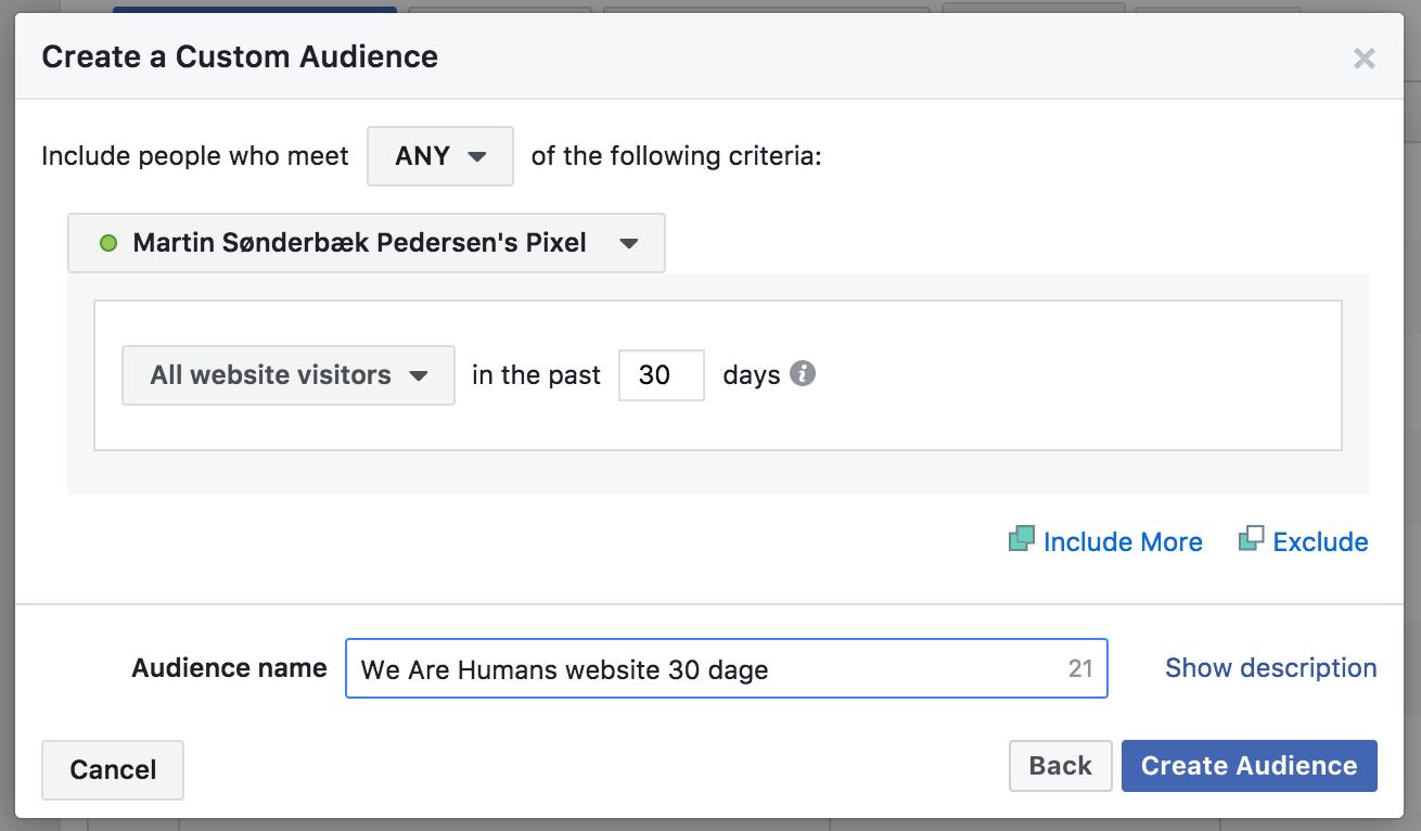 Facebook remarketing målgruppe der konverterer