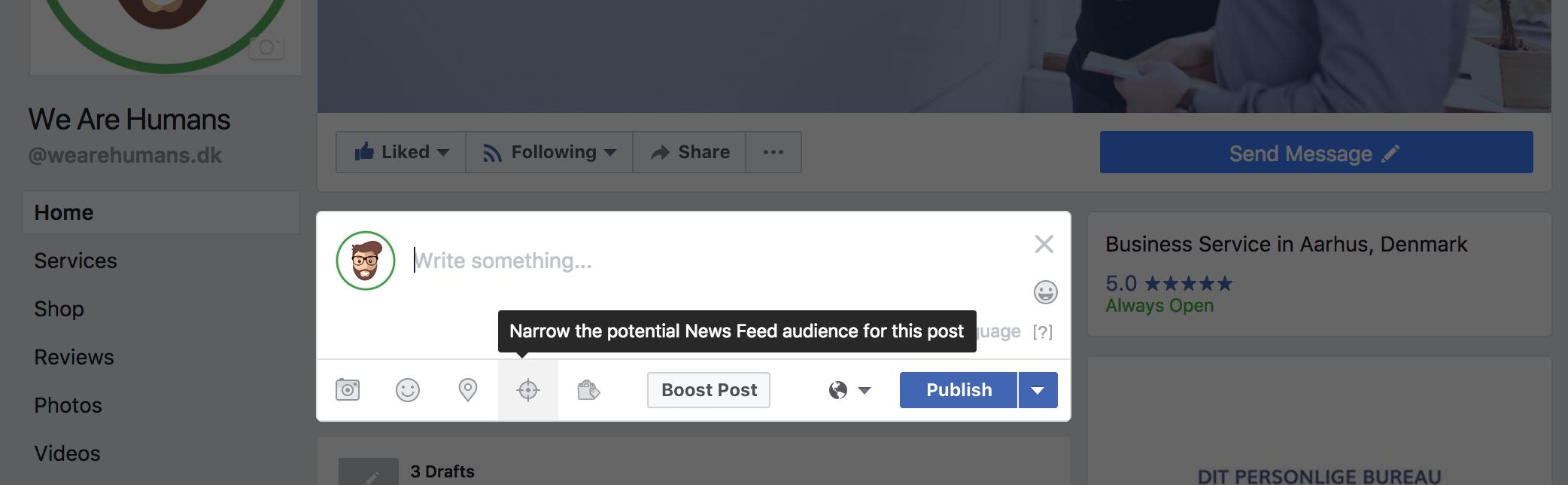 Opslag på Facebook og målretning af opslag