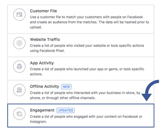 Opret målgruppe baseret på interaktion på facebook side