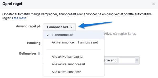 Anvend regel til dine automatiske regler på Facebook kampagner