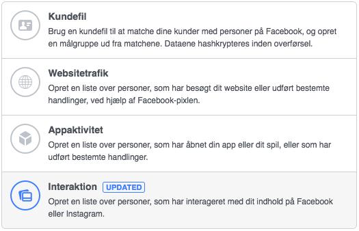 brugerdefineret målgruppe på Facebook over de personer, som har interageret med din Instagram profil.