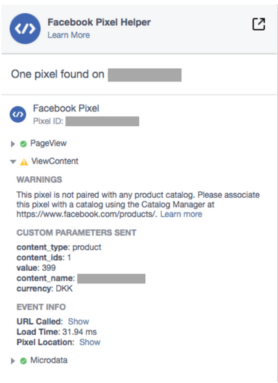 Facebook pixel helper view content this pixel is not paired with any product catalog