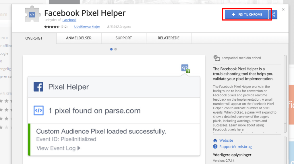 Facebook pixel helper føj til chrome