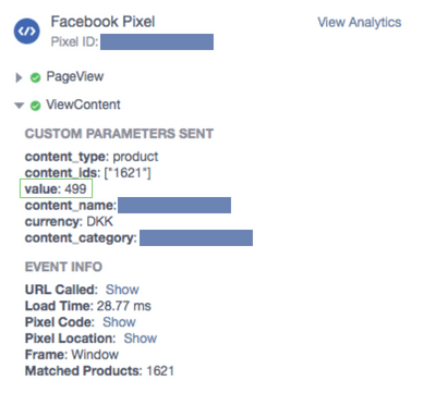 content views value facebook pixel