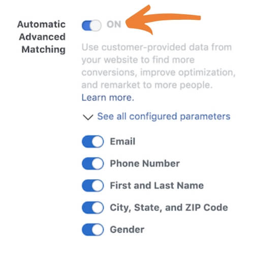 Facebook avanceret matching tracking advanced matching