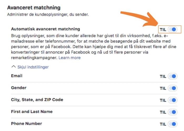Facebook avanceret matchning