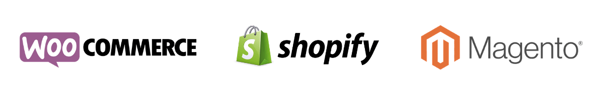 systemer vi arbejder i - shopify, woocommerce, magento